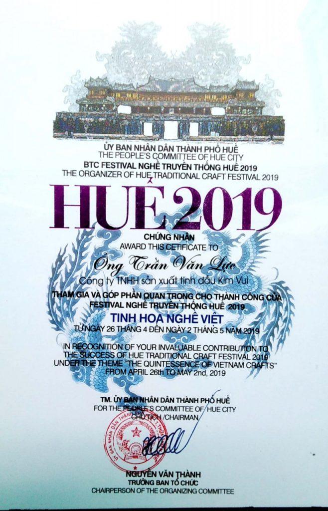 Giấy khen Festival 2019 công ty Kim Vui